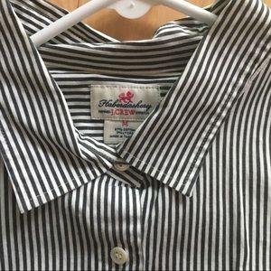 J. Crew black and white striped dress shirt.